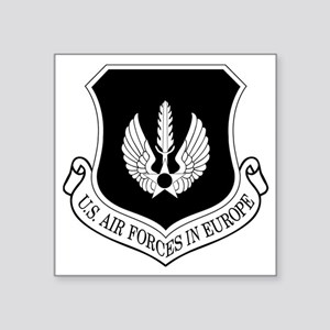 "USAF-USAFE-Shield-BW-Bonnie Square Sticker 3"" x 3"""