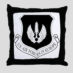 USAF-USAFE-Shield-BW-Bonnie Throw Pillow