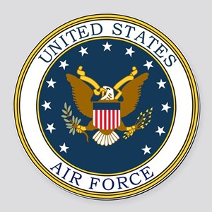 USAF-Patch-3 Round Car Magnet