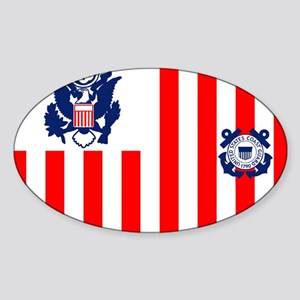 3-USCG-Flag-Ensign-Full-Color Sticker (Oval)
