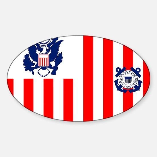 3-USCG-Flag-Ensign-Full-Color Sticker (Oval)