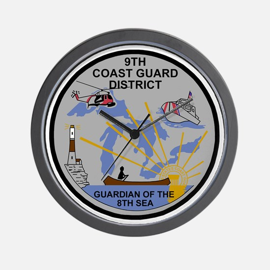 USCG-9th-CGD-Patch-Dark Wall Clock