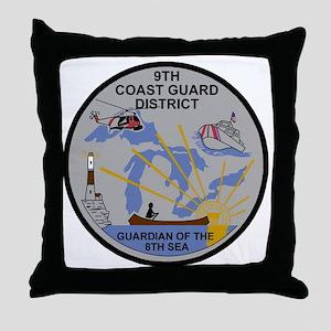 USCG-9th-CGD-Patch-Dark Throw Pillow