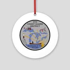 USCG-9th-CGD-Patch-Dark Round Ornament