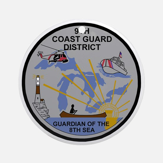 USCG-9th-CGD-Patch-Dark Round Ornament