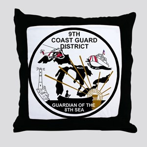 USCG-9th-CGD-Patch-Black-White Throw Pillow