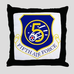 USAF-5th-AF-Shield Throw Pillow