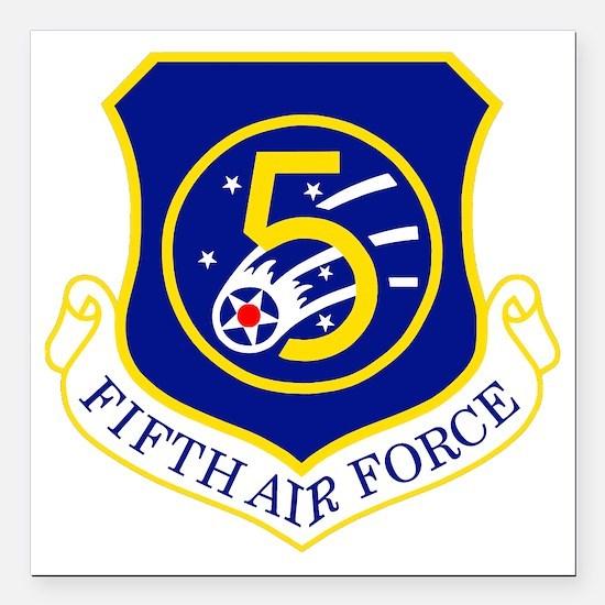 """USAF-5th-AF-Shield Square Car Magnet 3"""" x 3"""""""