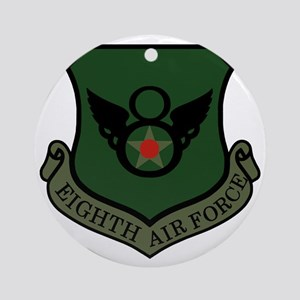 USAF-8th-AF-Shield-Subdued-Green Round Ornament