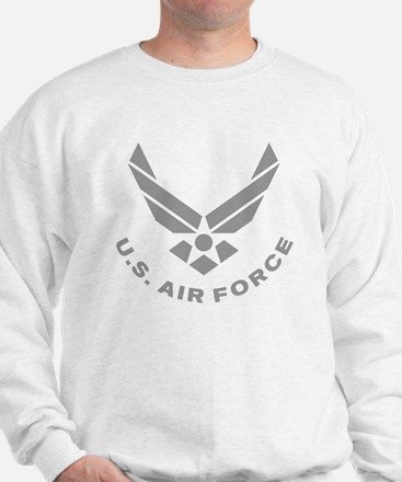 USAF-Symbol-Gray-With-Curved-Text Sweater