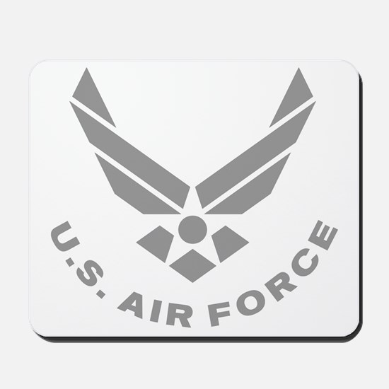 USAF-Symbol-Gray-With-Curved-Text Mousepad