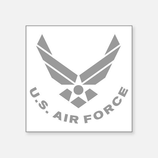 "USAF-Symbol-Gray-With-Curve Square Sticker 3"" x 3"""