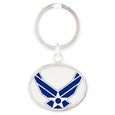 USAF-Symbol-Blue-On-White Oval Keychain