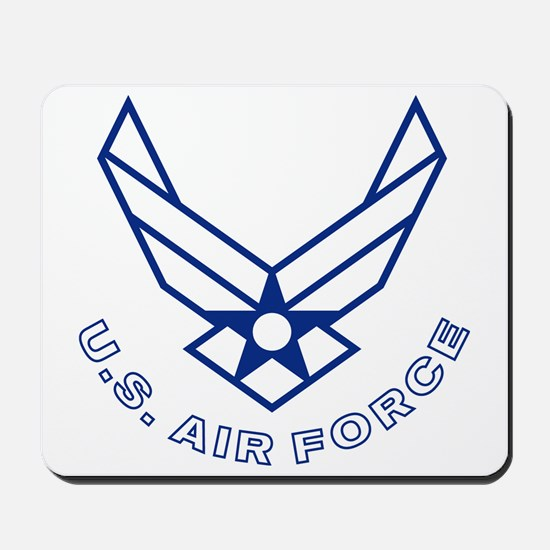 USAF-Symbol-With-Curved-Text-White-On-Bl Mousepad
