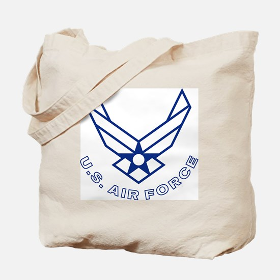 USAF-Symbol-With-Curved-Text-White-On-Blu Tote Bag
