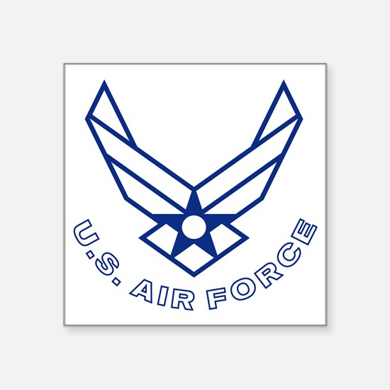 """USAF-Symbol-With-Curved-Tex Square Sticker 3"""" x 3"""""""