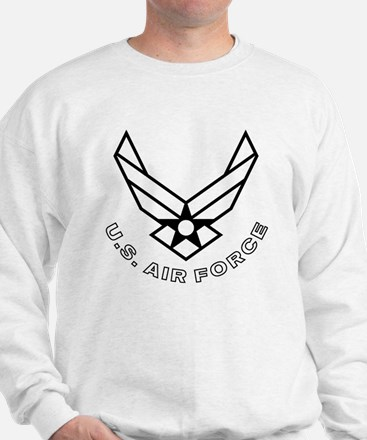 USAF-Symbol-With-Curved-Text-White-On-B Sweatshirt