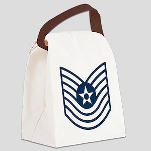 USAF-MSgt-Old-Blue Canvas Lunch Bag