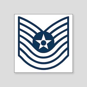 "USAF-MSgt-Old-Blue-Four-Inc Square Sticker 3"" x 3"""