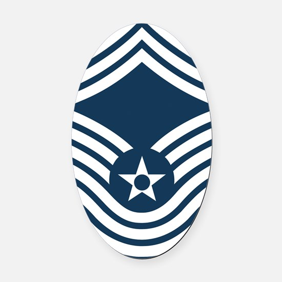 USAF-CMSgt-Old-Blue-PNG Oval Car Magnet