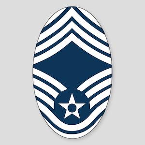 USAF-CMSgt-Blue Sticker (Oval)