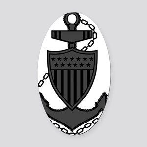 USCG-Rank-CPO-Anchor-Subdued-PNG Oval Car Magnet