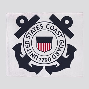 USCG-Logo-Blue-White-For-Blue-Crows Throw Blanket