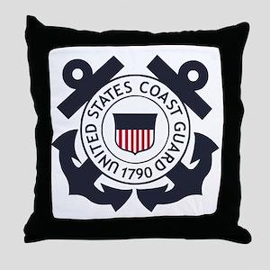 USCG-Logo-Blue-White-For-Blue-Crows Throw Pillow
