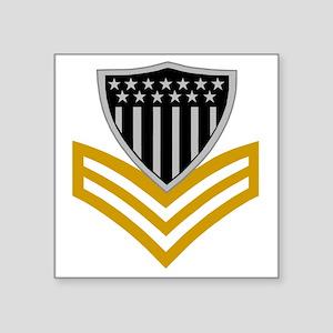 """USCG-Rank-PO1-Pin- Square Sticker 3"""" x 3"""""""