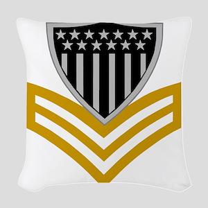 USCG-Rank-PO1-Pin- Woven Throw Pillow