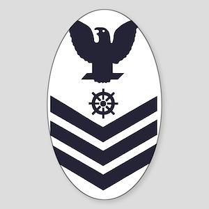 USCG-Rank-QM1-Blue-Crow- Sticker (Oval)