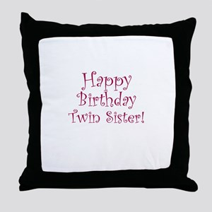 happy birthday twin sister throw pillow