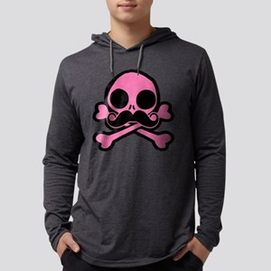 Pink Skull With Moustache Mens Hooded Shirt