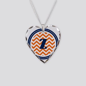 Orange Chevron Z Monogram Necklace Heart Charm