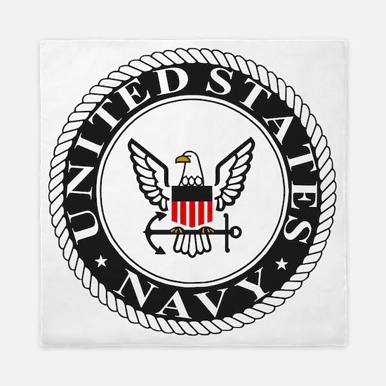 Navy-Logo-Black-White-Red Queen Duvet