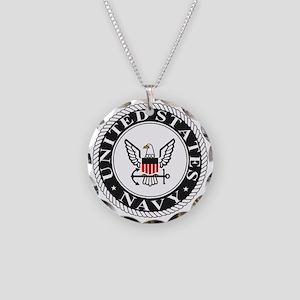 Navy-Logo-Black-White-Red Necklace Circle Charm
