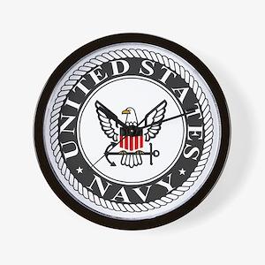 Navy-Logo-Black-White-Red Wall Clock