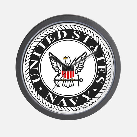 Navy-Logo-Black-White-Red Wall Clock