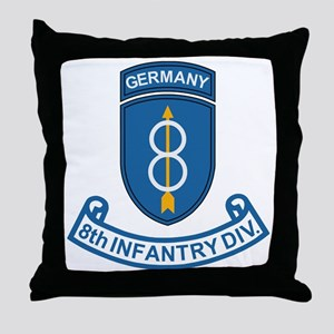 Army-8th-Infantry-Div-Germany-Scroll Throw Pillow