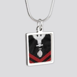 Navy-Rank-UT2-Embroidered- Silver Square Necklace