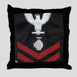 Navy-Rank-UT2-Embroidered-Red Throw Pillow