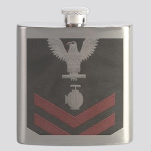 Navy-Rank-UT2-Embroidered-Red Flask