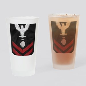 Navy-Rank-UT2-Embroidered-Red Drinking Glass