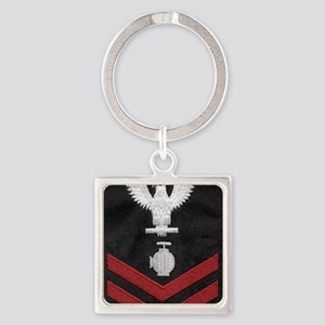 Navy-Rank-UT2-Embroidered-Red Square Keychain