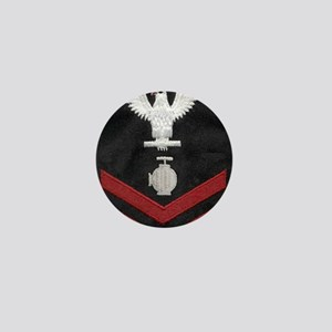 Navy-Rank-UT2-Embroidered-Red Mini Button