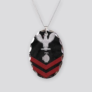Navy-Rank-UT2-Embroidered-Red Necklace Oval Charm