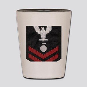 Navy-Rank-UT2-Embroidered-Red Shot Glass