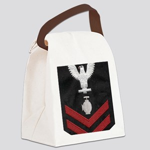 Navy-Rank-UT2-Embroidered-Red Canvas Lunch Bag