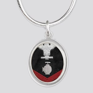 Navy-Rank-UT2-Embroidered-Red Silver Oval Necklace