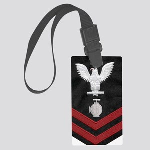 Navy-Rank-UT2-Embroidered-Red Large Luggage Tag
